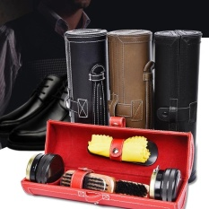 1 Set Portable Travel Wooden Handle Brushes Polishing Shoes Cleaning Tools With Case - intl