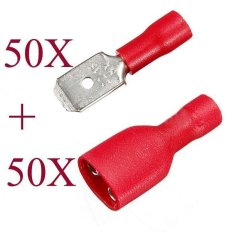 Hình ảnh 100 cái Đỏ Nam Nữ Cách Nhiệt Spade Dây Lọn Uốn Thiết Bị Đầu Cuối Đầu Kết Nối