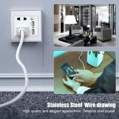 10A Đa Năng Dual USB Ổ điện Bảng AC 110-265 v Ổ Cắm Sạc Điện có Công Tắc (Bạc) -quốc tế