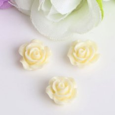 Hình ảnh 10pcs Mix Resin Rose Flower flatback Appliques For DIY phone/wedding/craft Nice Light Yellow - intl