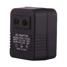 110V To 220V 50W AC Power Socket Adapter, EU/US Plug To US Plug(Black) - intl