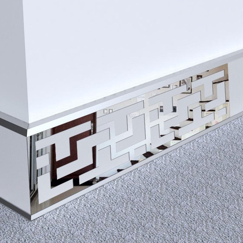 12 cái 7.5x28 Rời Gương Acrylic Dán TIVI Phòng Khách Phông Nền Dòng 3D Khắc Gương Dán Tường- quốc tế
