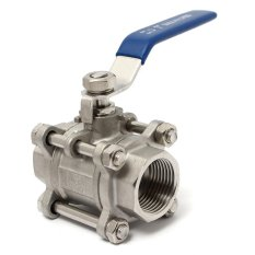 Hình ảnh 1/2'' threaded 3 Piece 3Pcs 316 Stainless Steel Ball Valve NPT Full port 1000WOG 1/2 inch Sliver - intl