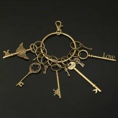 12 Vtg cũ đồng chìa khóa rất nhiều mặt dây chuyền trái tim nơ khóa phong cách khoa học viễn tưởng trang sức & 1 móc khóa-quốc tế
