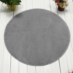 Ôn Tập 120Cm Fluffy Rug Non Slip Round Shaggy Rug Living Room Bedroom Carpet Floor Mat Grey Intl Oem