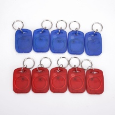 125KHZ Smart Read Only ID Card Key Chain Fob Red+Blue Transparent Plastic - intl