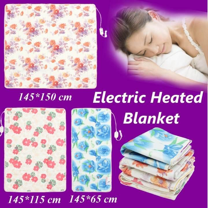 145*65cm Electric Heated Blanket Polyester Floral Printed Bedroom Blankets - intl