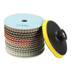 15Pcs 4 Inch 100mm Diamond Polishing Pads Wet Dry Tile Stone Concrete Marble - intl