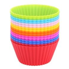 【Crystalawaking】16 Cái Khuôn Silicon Hình Tròn Làm Bánh Cupcake - Hàng Quốc Tế Siêu Giảm Giá