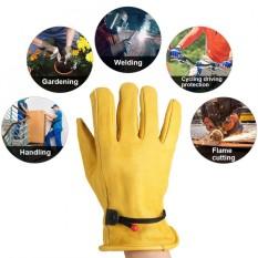 1Pair Leather Gloves Working Protection Gloves Garden Labor Gloves Gardening (XL) - intl
