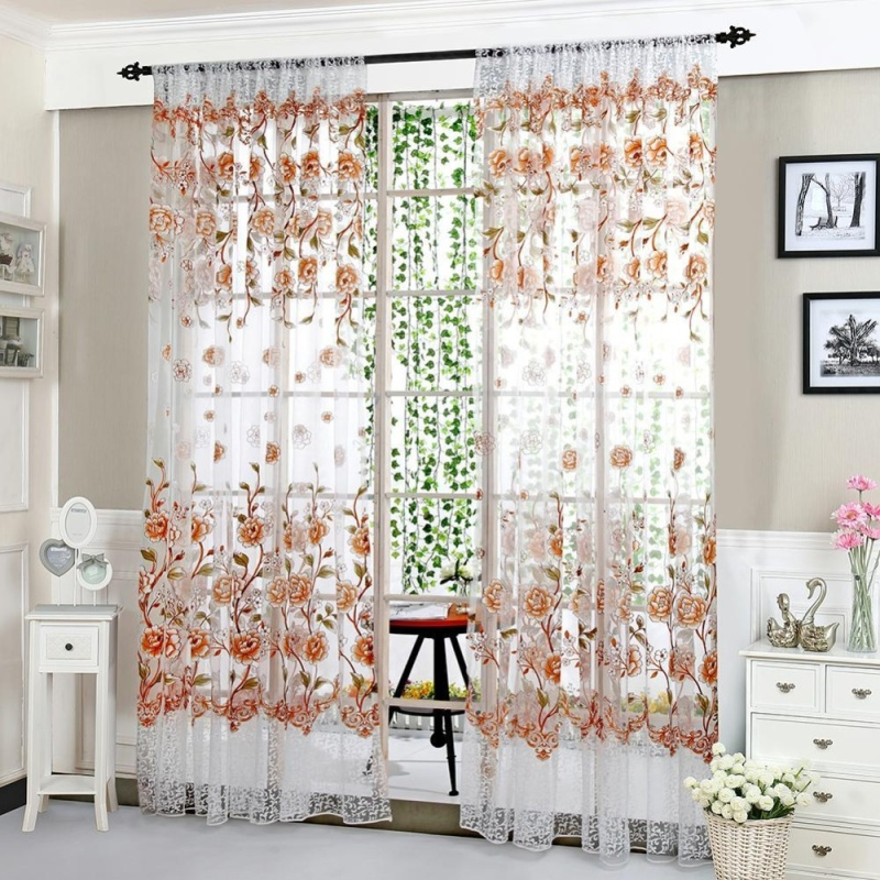 1pcs 1pc Peony Curtain Living Room Bedroom Home Door Window Curtain(Coffee)(Note:you may need 2pcs)