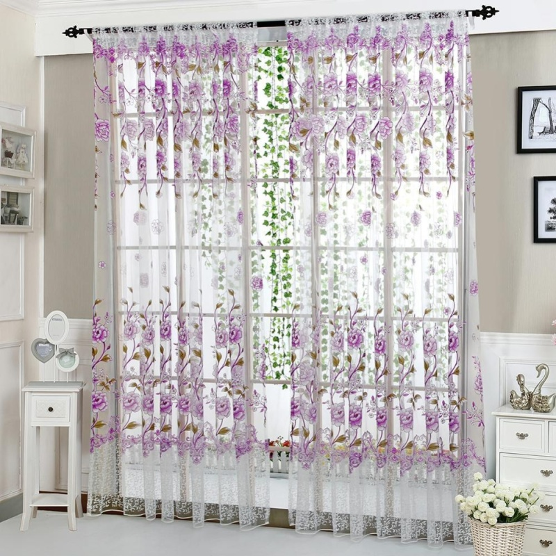 1pcs 1pc Peony Curtain Living Room Bedroom Home Door Window Curtain(Purple)(Note:you may need 2pcs)