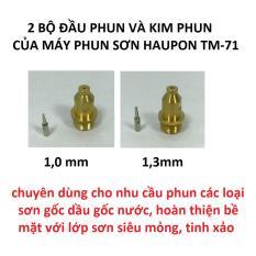 Hình ảnh 2 bộ đầu/kim phun của máy phun sơn Haupon TM-71, cỡ 1,0 và 1,3mm(Gold)