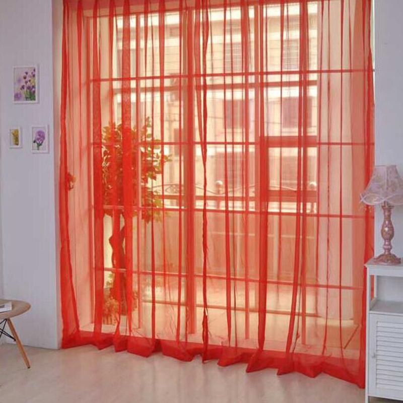 2 cái. Sheer Voile Cửa Sổ Bảng Điều Khiển rèm cửa DRAP Đỏ (Quốc Tế)