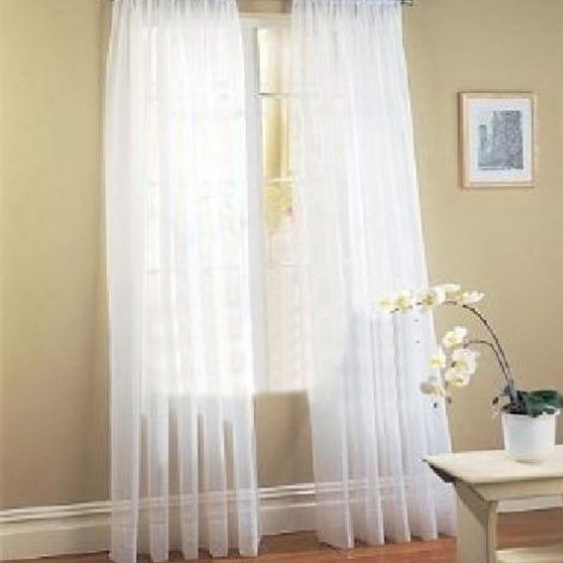【Crystalawaking】2 Pcs. Sheer Voile Window Panel curtains DRAPE White (Intl)
