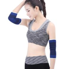 2 PCS Sports Elastic Thermal Elbow Support Guards, Size: 11 X 20cm (Blue+Black) - intl