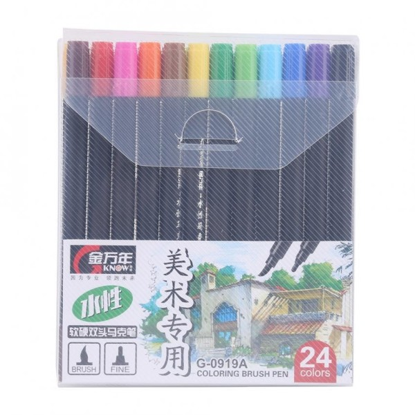 Mua 24 Colors Dual Tips Brush Pen with 0.4mm Fineliners Art Sketch Markers Drawing - intl