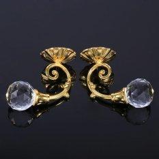 Hình ảnh 2x Metal Crystal Glass Window Drapery Tieback Hooks Hanger Gold - intl