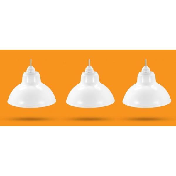 3 Bộ Chao đèn Chóa đèn nhựa trắng ngoài trời 30cm và đui E27 Kín nước