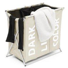 3 Section Folding Laundry Sorter Hamper Organizer Washing Clothes Basket Storage Beige - Intl Giảm Cực Đã