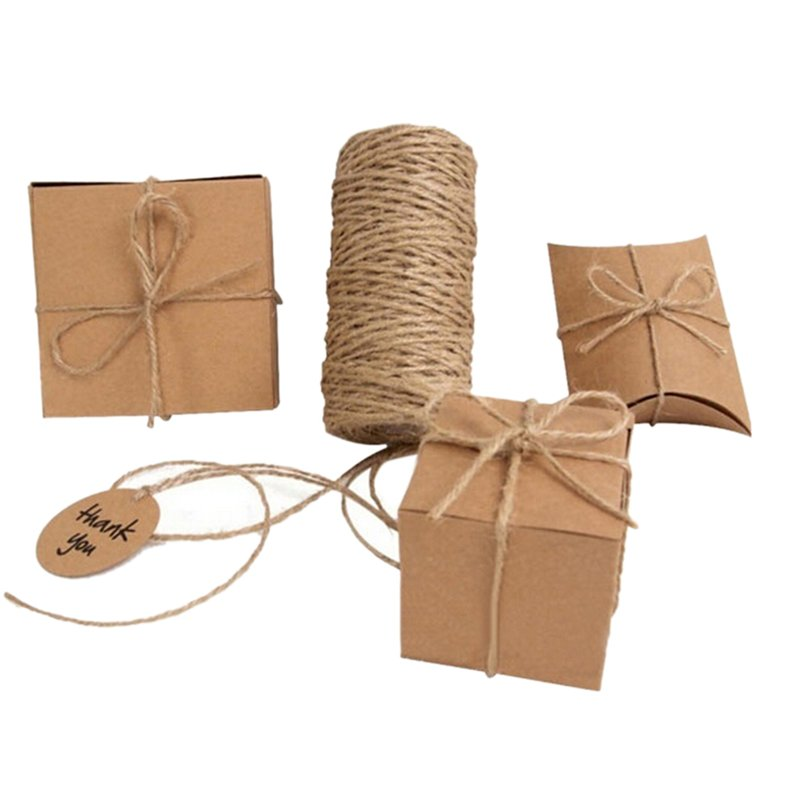 33M Christmas Hemp Rope Cord Marline for Wedding Favors Candy Boxes DIY Decor Brown intl - intl 3