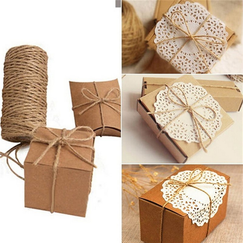 33M Christmas Hemp Rope Cord Marline for Wedding Favors Candy Boxes DIY Decor Brown intl - intl 8