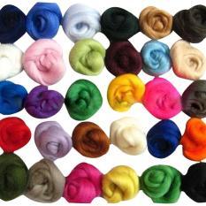 Mua 36 colors Merino Fibre Wool Yarn Roving For Needle Felting Hand Spinning DIY