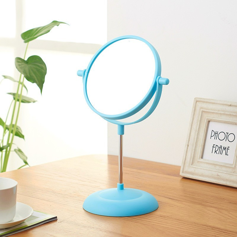 360 Degree Round Stand Mirror Cosmetic Mirror For Lady Girl Makeup Mirrors Plastic Toilet Glass - intl