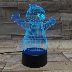 3D illusion Night 7 Color Change Touch Switch Snowman Xmas Gift LED Table Lamp - intl