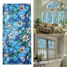 Hình ảnh 3D Window Decor Orchid Flower Stained Glass Window Film Sticker DIY Home Decor - intl