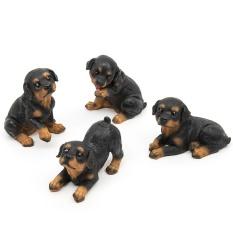 Offer Khuyến Mãi 4Pcs Cute Resin Rottweiler Dogs Miniature Puppy Lawn Garden Décor Ornaments(Đồ Trang Trí Trang Trí) - Intl