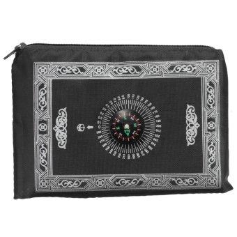4pcs Travel Pocket Prayer Rug Mat Pad + Qibla Kaaba Finder Compass For Muslim Islamic Black - intl