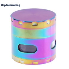 52MM Four Layers Ice Blue Metal Colorful Detector Grinders (Multicolor) - intl