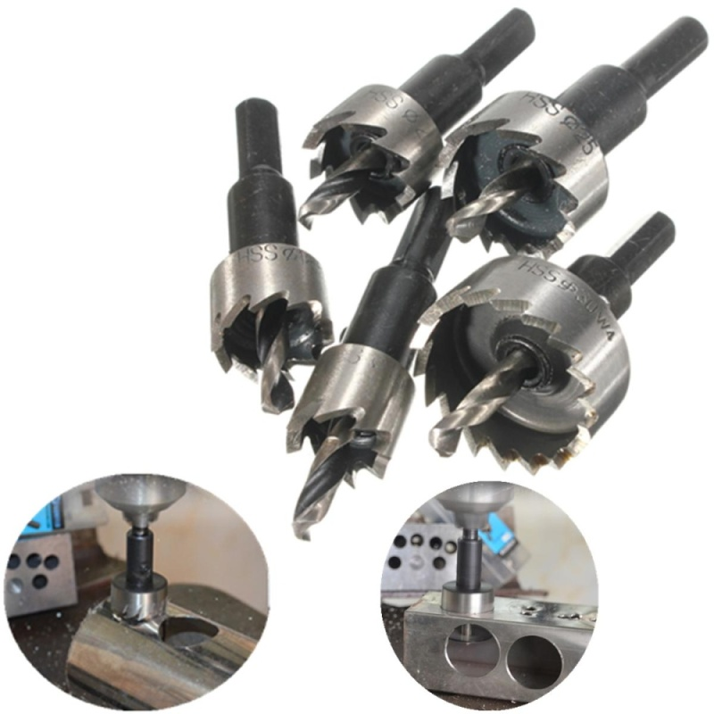 5PCS 16-30mm Drill Bit Hole Saw Set High Speed Stainless Steel Metal Alloy - intl