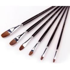 Mua 6 cái Sable Tóc Nghệ Sĩ Nghệ Thuật Cọ Sơn Màu Nước Dầu Acrylic Bàn Chải Tay Cầm Dài-quốc tế