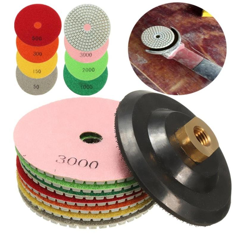 8Pcs 4 Diamond Polishing Pads Set Granite Concrete Marble Grinding Disc Kit Set - intl