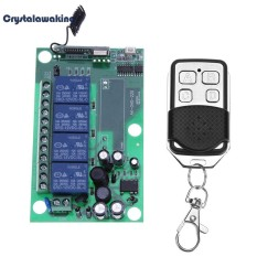 AC220V 4 Kênh 433 mhz Nhựa Không Dây RF Tiếp Công Tắc Điều Khiển từ xa (Xanh Lá)-quốc tế