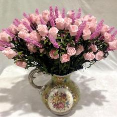Aukey Wedding 9 Heads Lavender Rose Artificial Silk Flowers Decor