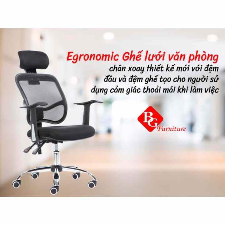 B&G Ergonomic Ghế Văn Phòng Chân Xoay H1-B (Đen )