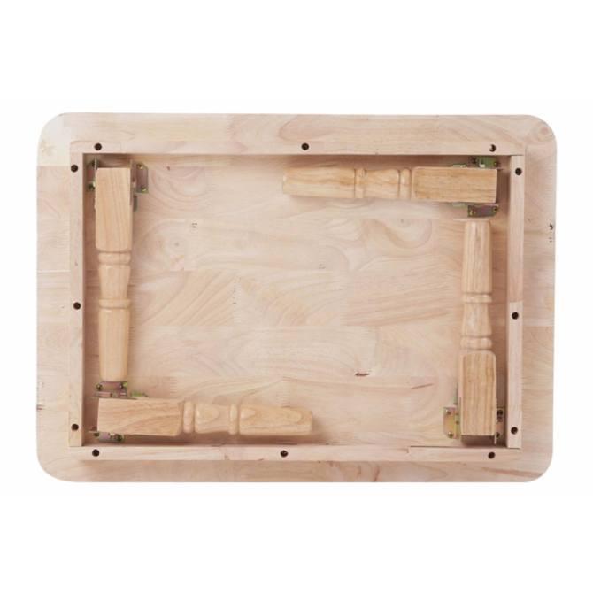 Hình ảnh Bàn Xếp Gỗ Tự Nhiên Chân Tiện Rộng 60cm x Dài 90cm (Nâu)