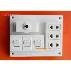 Hình ảnh Bảng điện nổi LiOA 15A có 3 ổ cắm 3 công tắc B-CB15A3C