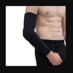 Basketball Arm Sleeve With Elbow Pads Protector Anti-Shock Stretch Padded Black Length:44cm/17.3in - intl