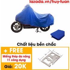 Bạt phủ xe máy bền chắc tiện dụng ( Ghi ) + Free 1 tấm thép 11 chức năng