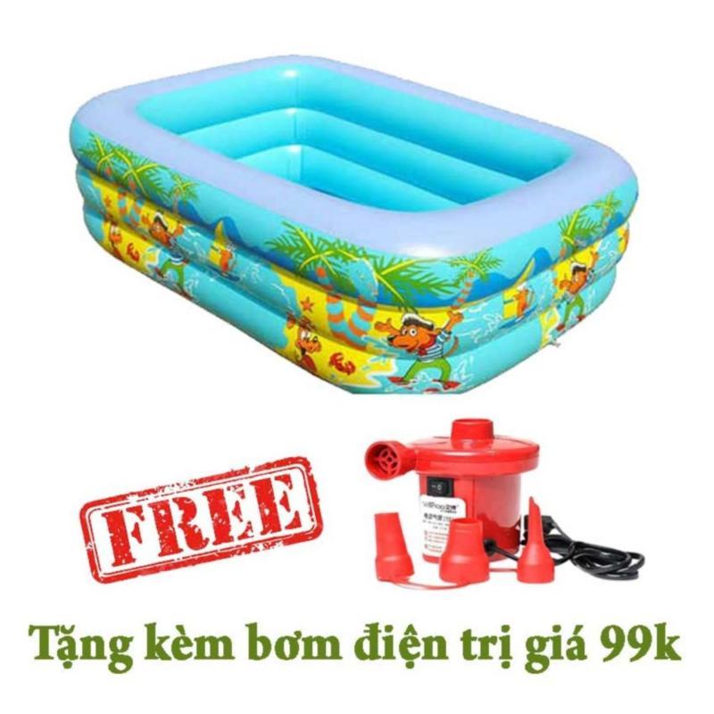Bể bơi 3 tầng swimming pool 150x100x50 tặng kèm bơm hơi