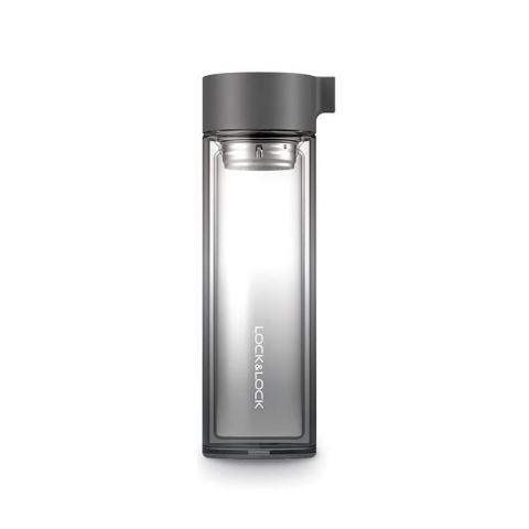 Bình đựng nước thủy tinh Crystarl 350ml, hiệu Lock&Lock - Màu đen [QC-Lazada]