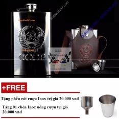 Mua Binh Đựng Rượu Cccp Inox Loại Dầy Logo Dập Nổi 1 5 Lit Tặng Phễu Rot Chen Uống Rượu Inox Trực Tuyến Rẻ