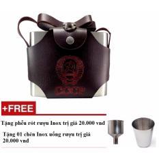 Binh Đựng Rượu Inox Cccp Bao Da 1 Lit Loại Day Kem Bao Da Bạc Cccp Rẻ Trong Lào Cai