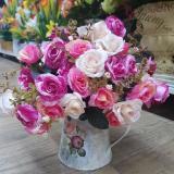 Giá Bán Binh Hoa Giả Trang Tri Kh396 Hoa Hồng Vải Trang Tri Phương Flower