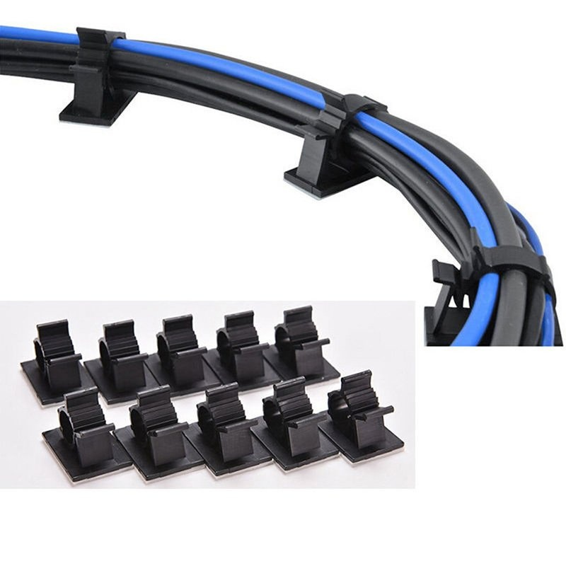 Black10Pcs Adhesive Backed Nylon Wire Adjustable Cable Clips Clamps 13mm - intl - 1