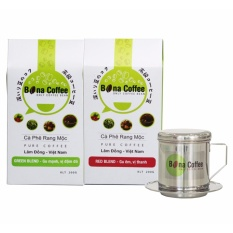 Giá Bán Bộ 2 Ca Phe Rang Xay Bona Coffee Red Blend Green Blend 1 Phin Inox Nguyên